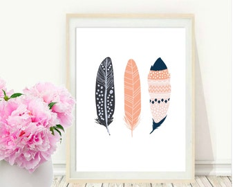 Feather Print, Printable  Art, Feather Art, Three Feathers, Wall Decor, digital Download, Wall Art, Home Decor, Navy And Coral