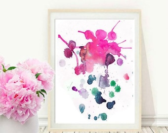 Abstract Art Print, Pink Abstract Art, Watercolor Abstract, Printable Art, Wall Art, Instant Download, Home Decor, Wall Decor