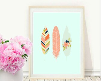 Aqua Feather Art Print, Printable Art, Feather Print, Feather Art, Tribal,  Wall Art, Instant  Download, Wall  Decor, Home Decor