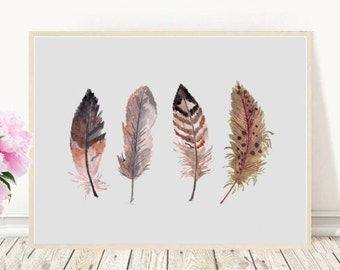 Feather Print, Printable Art, Feather Art Print, Four Feathers, Home Decor, Watercolor Feather,  Wall decor, Instant Download