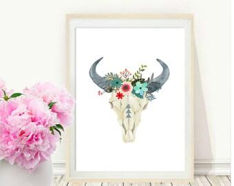 Bull Skull, Printable Art, Cow skull, Tribal Art ,Boho, Wall Print,  Instant Download, Wall Decor