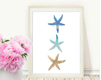 Starfish Art Print, Starfish Wall Art, Printable Art, Starfish Decor,  Beach Decor, Watercolor,  Coastal Art, Wall Decor,  Instant Download