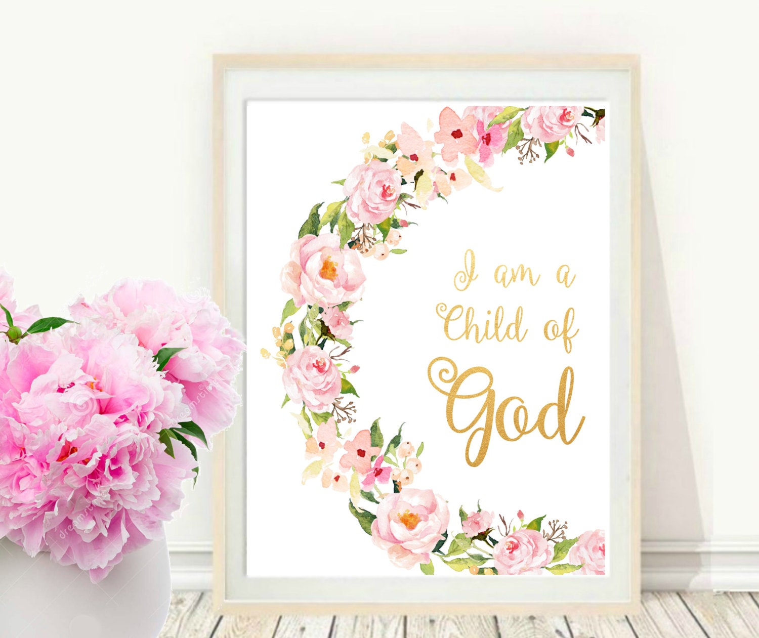image relating to I Am a Child of God Printable named I Am A kid Of God, Printable Bible Verse, Inspirational Print, Nursery Wall Artwork, Floral Scripture, instantaneous Obtain, Wall Artwork