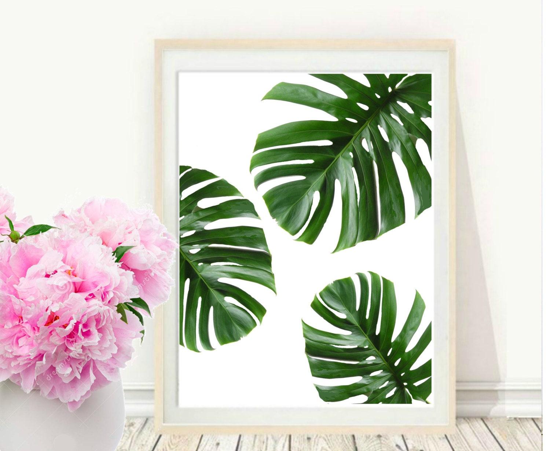 Tropical Leaf Printable Art Monstera Leaves Tropical Etsy