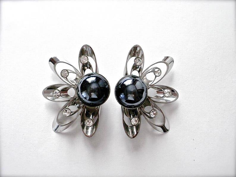 Clip On Earrings Large Statement Earrings Large Hematite Earrings Gift for Her Silver Tone Atomic Earrings Hematite Modernist Earrings