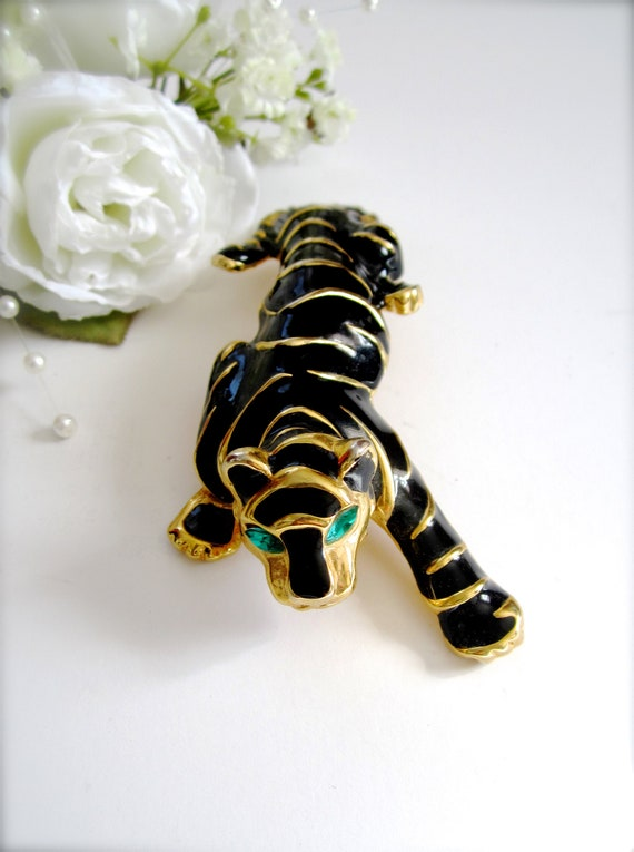 Large Black & Gold Tiger Brooch, Vintage Black Ena