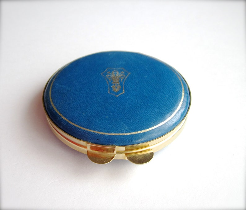 Genuine Blue Leather Gold Metal Powder Box Art Deco Style Vintage Powder Box Vintage Compact Powder Container Gift for Her Made in Italy