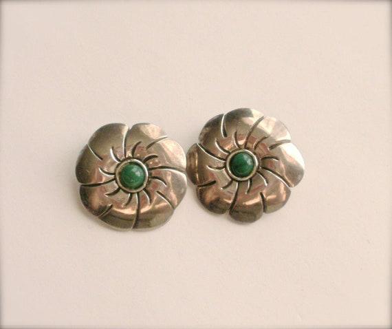 Jade Stone Earrings, Vintage Pewter Flower Clip On