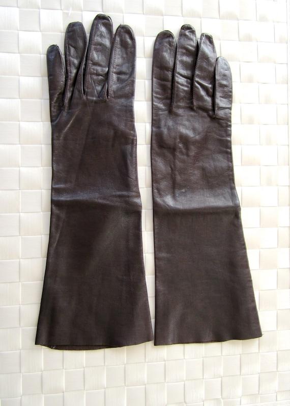 Leather Long Gloves Dark Brown Long Elbow Lambskin S Bandolera Vintage Gloves Nice Gift Idea
