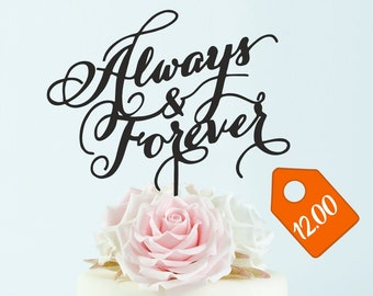 Always and Forever. Wedding cake topper. Gold wooden cake topper.