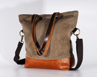 Convertible Tote, Canvas Base Cotton Adjustable Strap /Canvas and Leather Tote/Leather Bag/zipper/Foldover Crossbody Bag