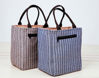 Sale!-!!Drawstring Insulated Lunch Bag.Insulated cooler,Insulated Lunch,Stripes Insulated Lunch Bag/men lunch box bag