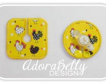 Happy Chickens on Bright Yellow Tubie Cover & Trach Pad (Gtube Pads G Tube Covers)