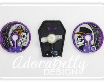 Halloween Victorian Skull Tubie Covers (Gtube Pads) Coffin