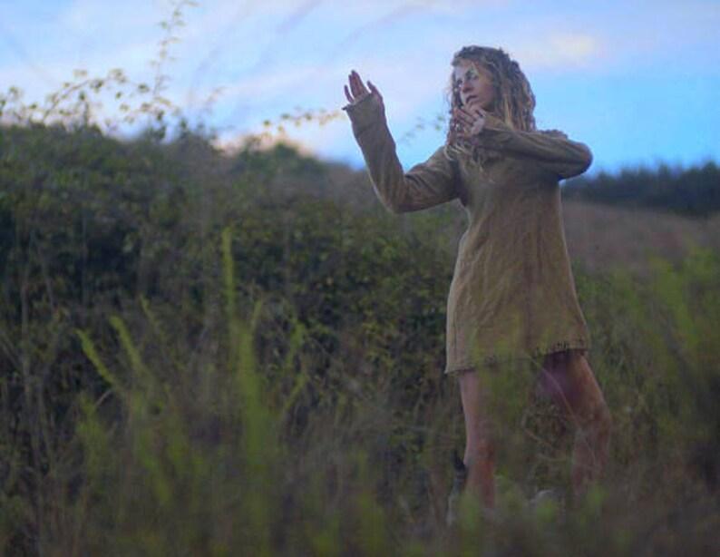 Earthy Olive Green Tunic Tank Dress Boho Natural Cotton Top Bohemian Gypsy Free Spirit Festival Tribal Fairy Rustic Raw