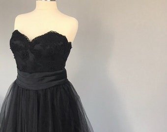 Designer Inspired , Black Dress , French Lace top , sweatheart neck .