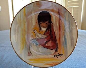DeGrazia Hand Signed The WHITE DOVE Children Series 1977 Collector Plate MIB