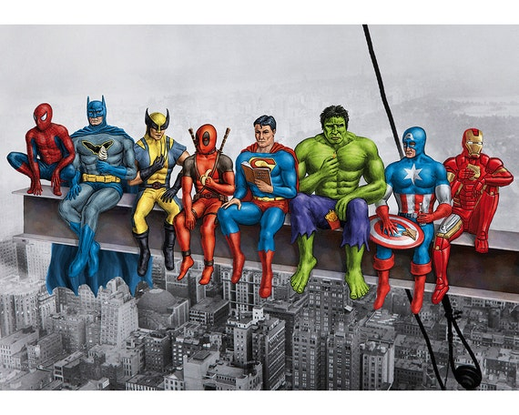 Superheroes on Girder Poster. Original artwork based on Marvel and DC Comics characters.