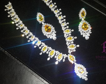 b0a9fa4c0 Fine Jewelry,Estate Necklace, 925 Sterling Silver Necklace,Indian Jewelry  Yellow Diamond CZ Necklace, Red Carpet Jewelry