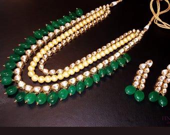 Kundan Polki Haar,Gold Green Kundan, Haar Necklace,Long Rani Haar Necklace,Kundan Jewelry,Indian Jewelry,Polki Bridal Necklace,Polki Mala