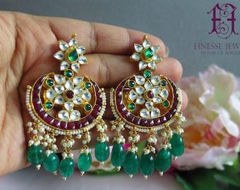 Red Green Kundan Earrings, Indian Earrings, Chandbali Earrings, Indian Jewelry, Kundan Jewelry