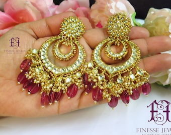 e47adab65 Indian Earrings, Indian jewelry, Gold Red Kundan Earrings, Chandbali  Earrings