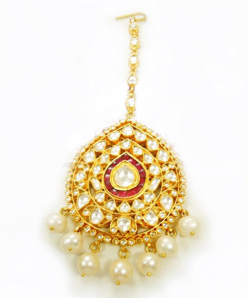 Kundan Tikka Red Bridal Maang Tikka,Kundan Jewelry,Indian Bridal Jewelry Tikka