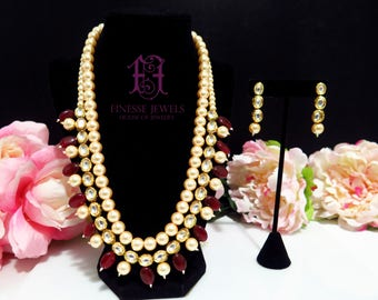 Red Polki Pearl Necklace,Polki Haar Necklace,Indian Necklace,Kundan Earrings,Kundan Jewelry,Indian Jewelry,Meenakari Indian Bridal Jewelry