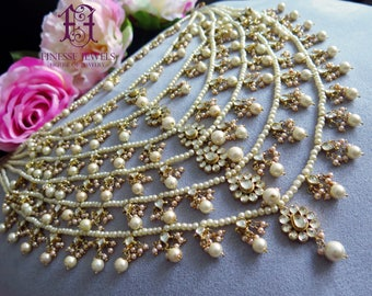 Heavy Satlada,Rani Haar,Long Haar,Indian jewelry,Indian Necklace,Quality Kundan Jewelry,Indian Bridal Jewelry,Long Pearl Haar Long Necklace