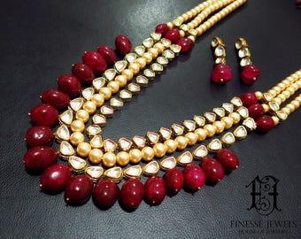 Kundan Polki Haar,Gold Red Kundan,Haar Necklace,Long Rani Haar Necklace,Kundan Jewelry,Indian Jewelry,Polki Necklace,Polki Bridal Necklace