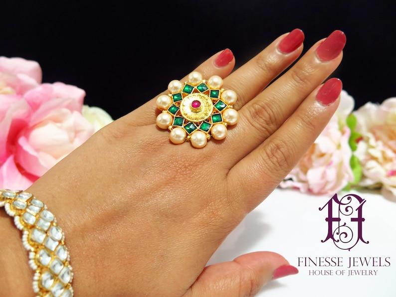 Sabyasachi Ring Indian Jewelry Ring Gold Green Bridal Ring Etsy