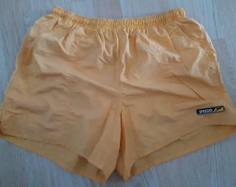 f3b3cb2e8a2a1 Vintage 90s Speedo swim trunks shorts orange size large 100% nylon