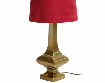 Vintage Mid Century Laurel Petite Brushed Brass Lamp w/ Red Shade