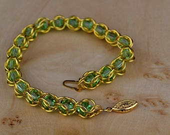 Gold Plated Bracelet with Apple Green Crystals, Captive Ring Bracelet, Green Crystal Bracelet, Apple Green Crystals