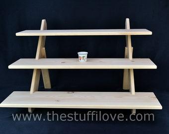 "3 Tier Deep Wide (75cm/29.5"") Portable Riser Craft fair Display Shelving Stand."