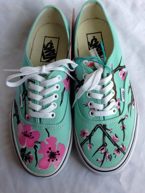Painted Shoes Cherry Blossom Mint Canvas Custom Order  92b9c4143