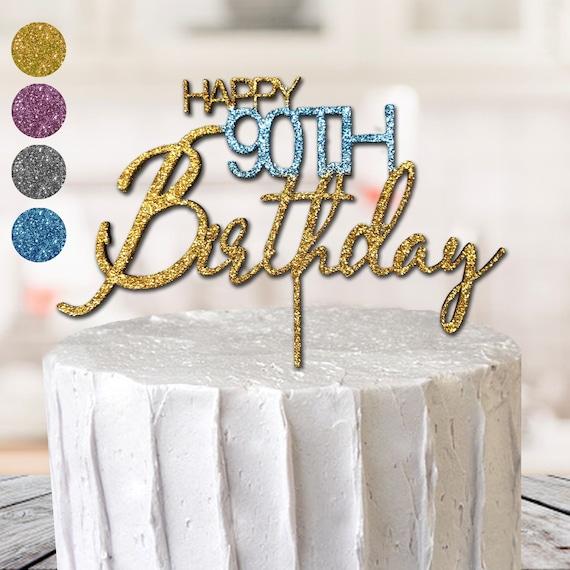 Enjoyable Silver Happy 90Th Birthday Cake Topper Personalised Birthday Cards Veneteletsinfo