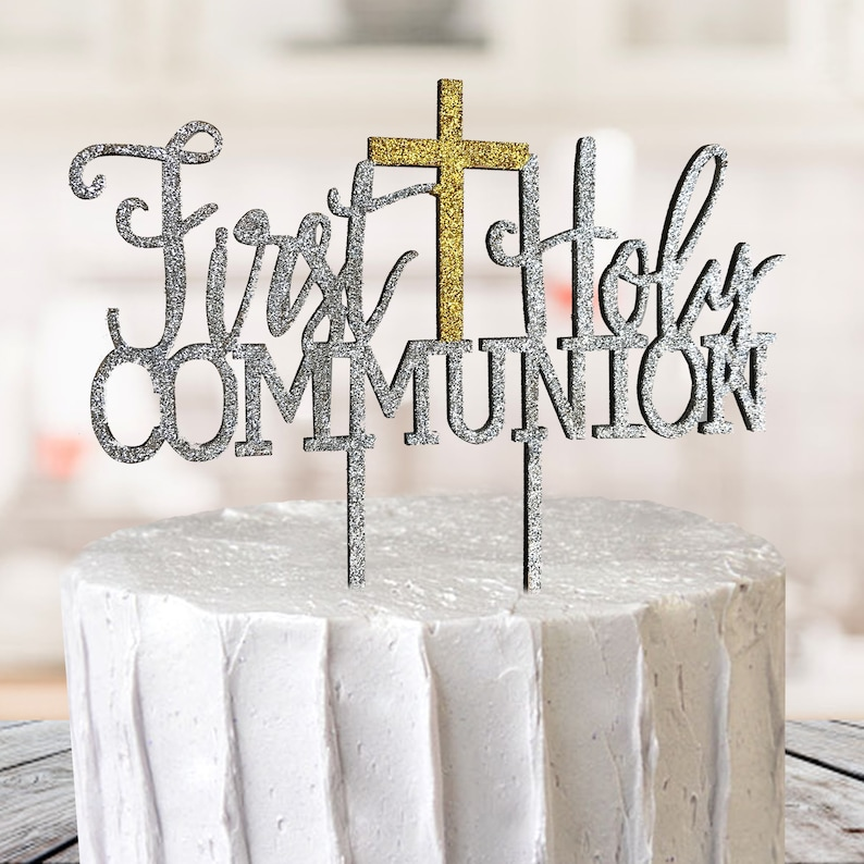 First Holy Communion Baptism Christening Cake Topper Decoration Sparkle MDF Cross Silver Gold Party Decor