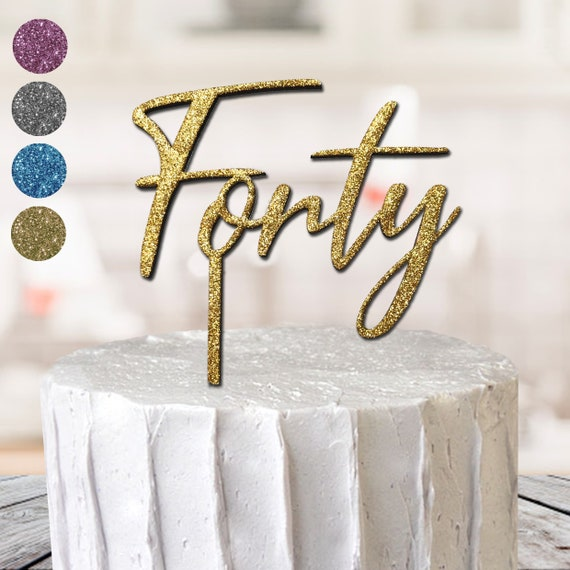 Happy 40th great for Birthday or Anniversary acrylic glitter Silver cake topper