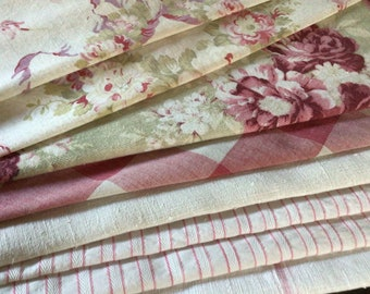 Antique French Fabric Coordinates, bundles for projects sewing Floral Vichy