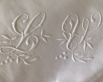 """Pair Lovely hand embroidered  French  pillow shams  Monogram """"LV"""""""