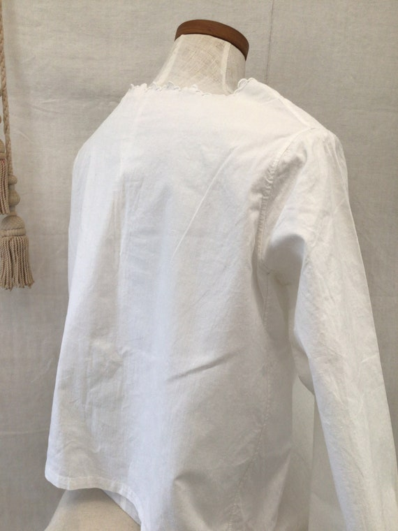 Antique French Hand Embroidered  blouse  Cotton S… - image 7