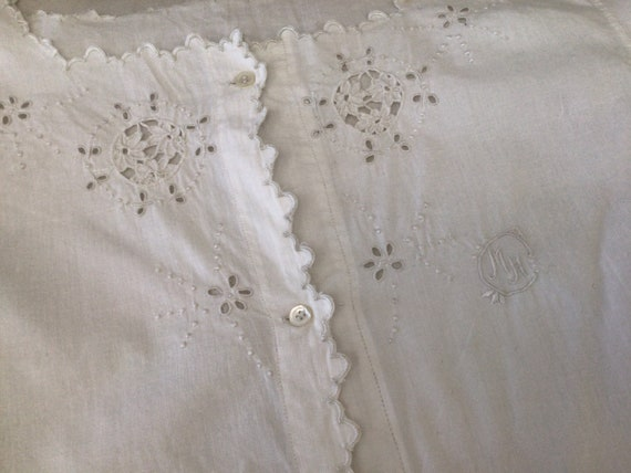 Antique French Hand Embroidered  blouse  Cotton S… - image 9