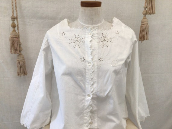 Antique French Hand Embroidered  blouse  Cotton S… - image 2