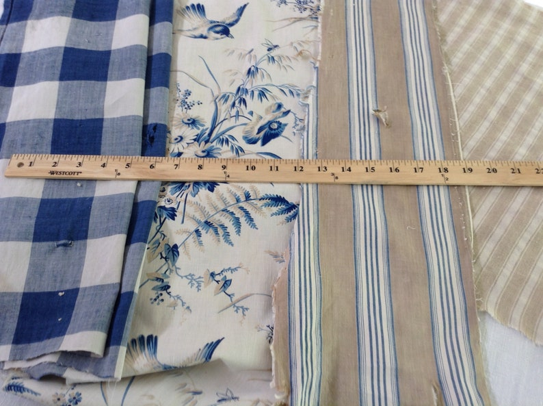 Antique Vintage French Fabric Coordinates bundles project Ticking Floral Vichy