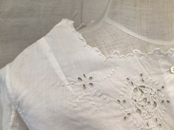 Antique French Hand Embroidered  blouse  Cotton S… - image 6
