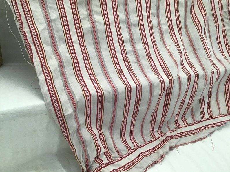 Yellow Stripe 19th Century Antique French Linen Chevron Weave Ticking Fabric Rustic Red