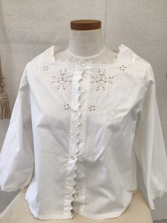 Antique French Hand Embroidered  blouse  Cotton S… - image 3