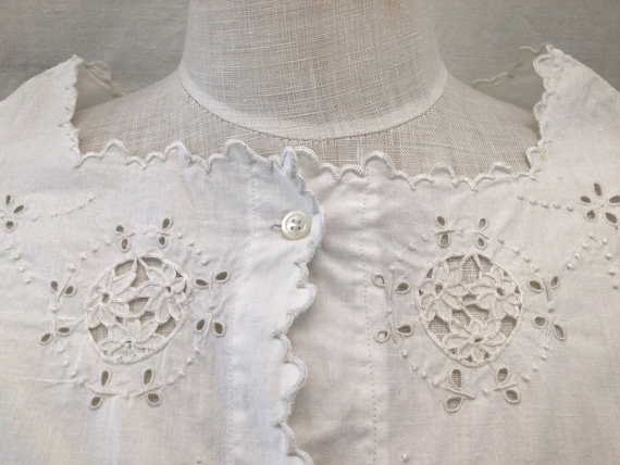 Antique French Hand Embroidered  blouse  Cotton S… - image 1