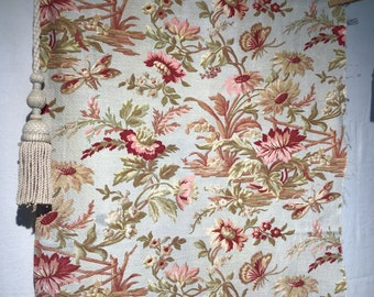 Antique French printed cotton upholstery weight fabric Floral Butterflies